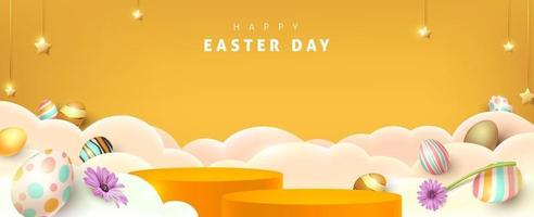 Happy Easter Banner mit Produktanzeige zylindrische Form und festliche Dekoration vektor