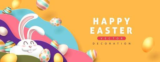 Ostern Banner Hintergrund mit niedlichen Kaninchen und farbigen Ostereiern. vektor