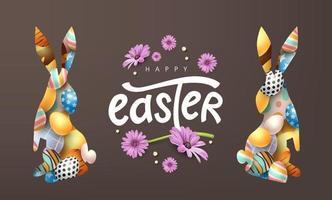 glücklicher Osterfahnenhintergrund. Kaninchen- oder Hasenform mit bunten Eiern. vektor