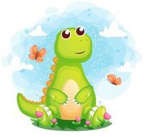 niedlicher Dino auf dem Gras mit Schmetterlingszeichentrickfigur vektor