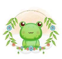 niedlicher kleiner Frosch mit Blumenkarikaturillustration. Tiere mit Blumensammlung vektor