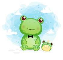 glücklicher niedlicher Frosch mit Küken, die Spaßkarikaturillustration haben vektor