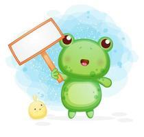 süßer kleiner Frosch, der eine leere Texttafel hält vektor
