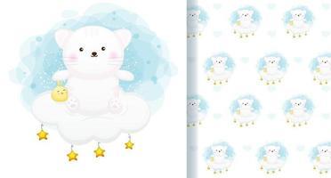süße Katze mit Küken, die auf dem nahtlosen Muster der Wolke sitzen vektor