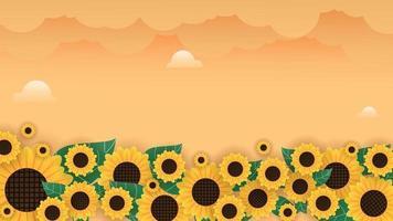 Sonnenblumenfeldhintergrund mit Wolken vektor
