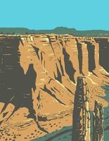 Spinnenfelsen-Sandsteinspitze im Canyon de Chelly-Nationaldenkmal auf Navajo-Stammesgebieten in Arizona-WPA-Plakatkunst vektor