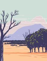 Nationaldenkmal des Capulin-Vulkans mit erloschenem Schlackenkegel-Vulkan-Teil des Raton-Clayton-Vulkanfeldes in New Mexico WPA-Plakatkunst vektor