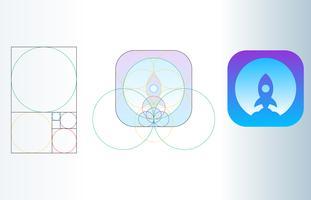 Fibonacci-Raketen-Logo-goldene Verhältnis-Schablonen-Illustration vektor