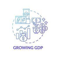 wachsende Ikone des Bruttoinlandsproduktkonzepts vektor