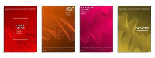 abstrakt uppsättning färgglada lutande vågiga linjer form vektor