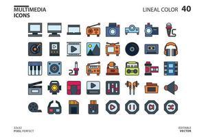 Multimedia-Symbolsammlungslinie und Füllstil vektor