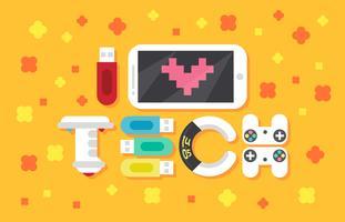 I Kärlek Med Teknologi Text Platt Illustration Vektor