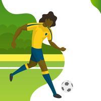 Moderner minimalistischer Brasilien-Fußball-Spieler für Weltcup 2018 tröpfeln einen Ball mit Steigungshintergrundvektor Illustration
