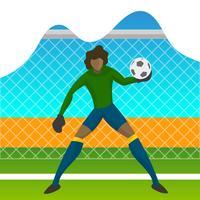 Moderner minimalistischer Brasilien-Fußball-Torhüter-Spieler für Weltcup 2018 Fangen Sie einen Ball mit Steigungshintergrundvektor Illustration