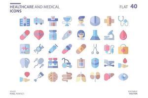 Gesundheitswesen und medizinische Ikone im flachen Stil gesetzt. Vektor-Logo-Design-Vorlage. moderne Designikone, Symbol, Logo und Illustration. Vektorgrafiken Illustration und bearbeitbarer Strich. isoliert auf weißem Hintergrund. vektor