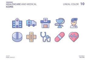 Gesundheitswesen und medizinische Linie und Füllsymbolsatz vektor