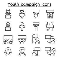 ungdomskampanjrelaterade vektorlinjeikoner.