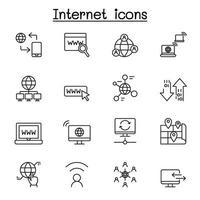 internet teknik ikonuppsättning i tunn linje stil vektor