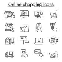 shopping online ikonuppsättning i tunn linje stil