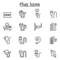 plugg, usb, kabel, uttag ikonuppsättning i tunn linje stil vektor