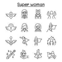 Super Frau Icon in dünnen Linien Stil gesetzt vektor