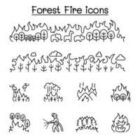 löpeld, skogsbrand ikonuppsättning i tunn linje stil vektor