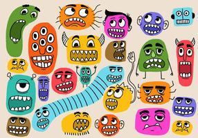 roliga färgstarka monster ansikten