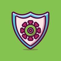 Schutzvirus-Vektorikonenillustration. flacher Cartoon-Stil geeignet für Web-Landingpage, Banner, Aufkleber, Hintergrund. vektor