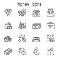 pengar ikoner i tunn linje stil vektor