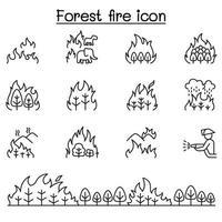 skogsbrand, löpeld ikoner i tunn linje stil vektor