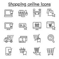 shopping online ikonuppsättning i tunn linje stil vektor