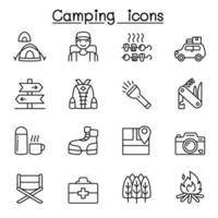 camping och vandring ikoner i tunn linje stil vektor