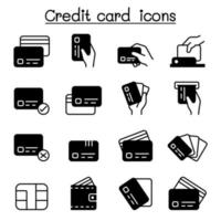 Kreditkarte, Debitkarte, Zahlung, Einkaufssymbole setzen Vektorillustrationsgrafikdesign vektor