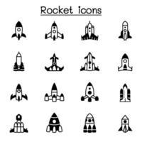 raket, rymdskepp, rymdskepp Ikonuppsättning grafisk design för vektorillustration