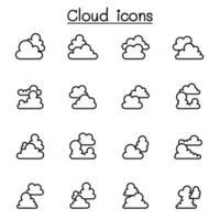 Wolkensymbole setzen Vektorillustrationsgrafikdesign vektor