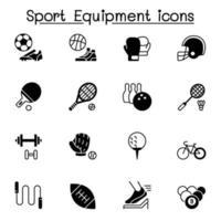 sportutrustning ikoner set