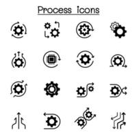 Prozessikonensatz Vektorillustration Grafikdesign