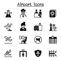 Flughafen, Luftfahrtikonensatzvektorillustrationsgrafikdesign