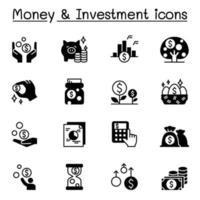 pengar och investeringsikoner ställer in grafisk design för vektorillustration vektor