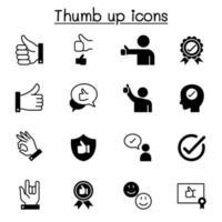 godkända och tummen upp ikoner ställer in grafisk design för vektorillustration