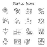 start ikonuppsättning i tunn linje stil