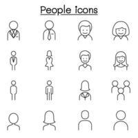 Menschen, Mann, Frau, Personenikone in dünner Linie Stil gesetzt vektor