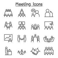 möte, konferens, seminarium, planering Ikonuppsättning i tunn linje stil vektor