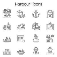 port ikonuppsättning i tunn linje stil vektor