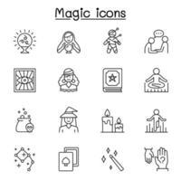 magiska ikonuppsättning i tunn linje stil vektor