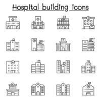 sjukhusbyggnad Ikonuppsättning i tunn linje stil vektor
