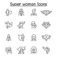 super kvinna Ikonuppsättning i tunn linje stlye vektor