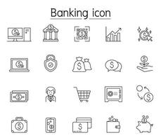 internetbank ikonuppsättning i tunn linje stil vektor