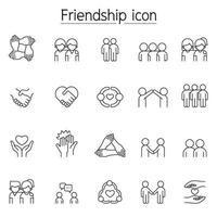 Freundschaftsikone im dünnen Linienstil gesetzt vektor