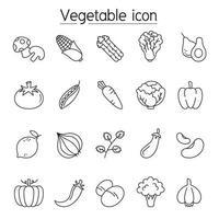 vegetabilisk ikonuppsättning i tunn linje stil vektor